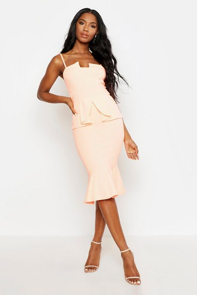 Boohoo Strappy Panelled Peplum Midi Dress in neon coral