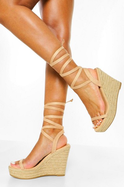 Boohoo Strappy Wrap Up Wedge in nude