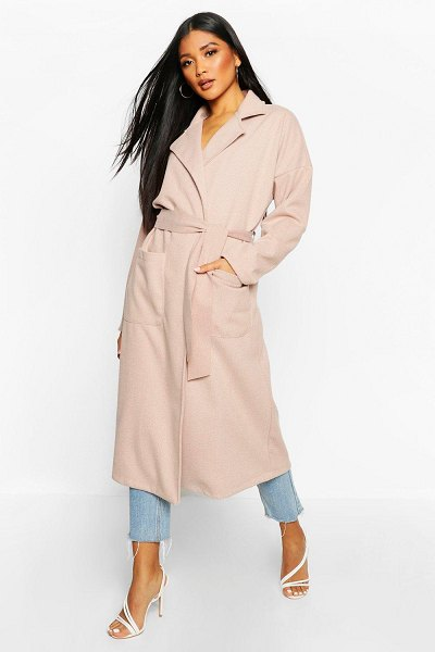 Boohoo Stripe Belted Wool Look Coat in blush