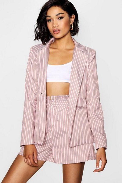 Boohoo Stripe Blazer in rose - Wrap up in the latest coats and jackets and get...