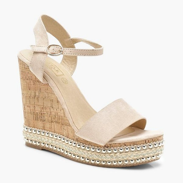Boohoo Stud and Plait Cork Wedges in nude