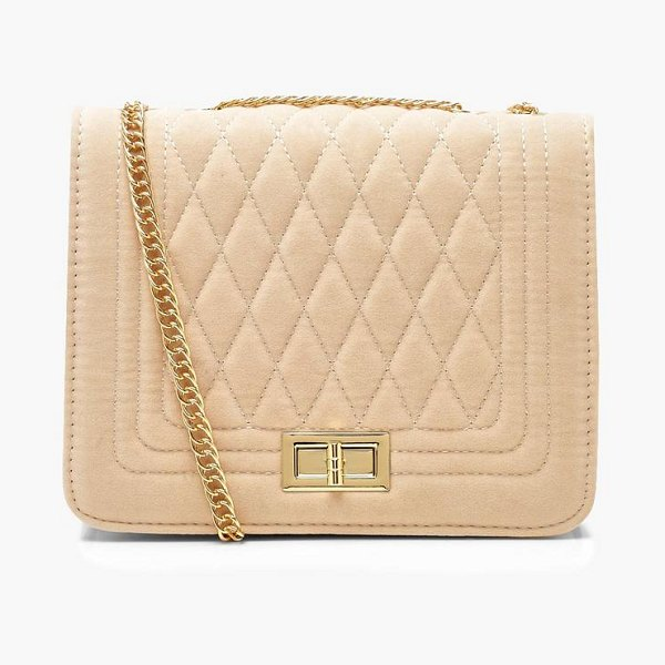Boohoo Suedette Quilted Cross Body in ecru - Add attitude with accessories for those fashion-forward...