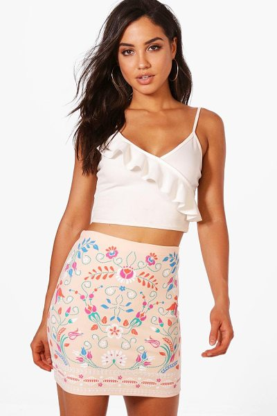 Boohoo Sula Embroidered Front Mini Skirt in sand - Skirts are the statement separate in every wardrobe This...