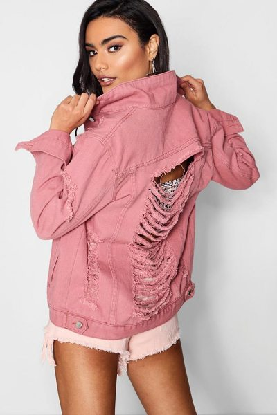 Boohoo Distressed Oversize Denim Jacket in dusky pink - Wrap up in the latest coats and jackets and get...