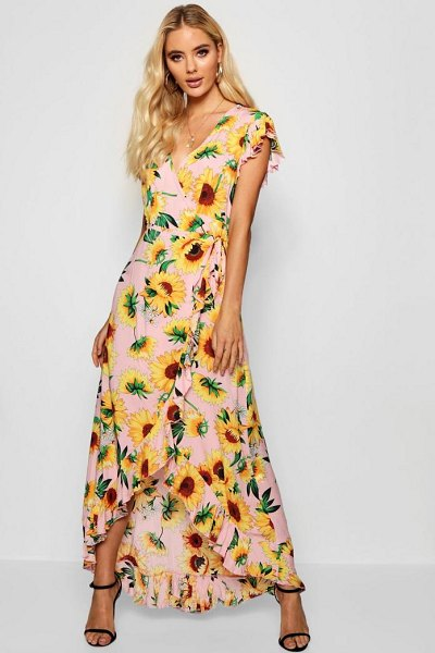 5379dde528 Boohoo Sunflower Print Wrap Front Maxi Dress in pink - Dresses are the most- wanted