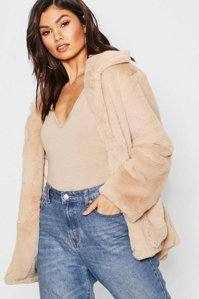 Boohoo Super Soft Faux Fur Coat in natural - Wrap up in the latest coats and jackets and get...