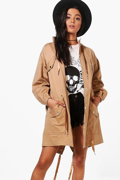 BOOHOO Suzie Hooded Longline Utility Jacket - Wrap up in the latest coats and jackets and get...