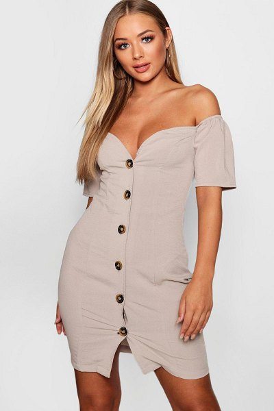 Boohoo Sweetheart Mock Horn Button Front Mini Dress in taupe