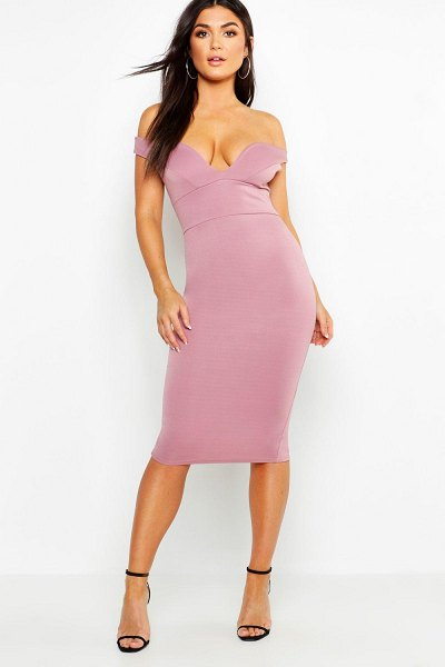 Boohoo Sweetheart Off Shoulder Bodycon Midi Dress in mauve