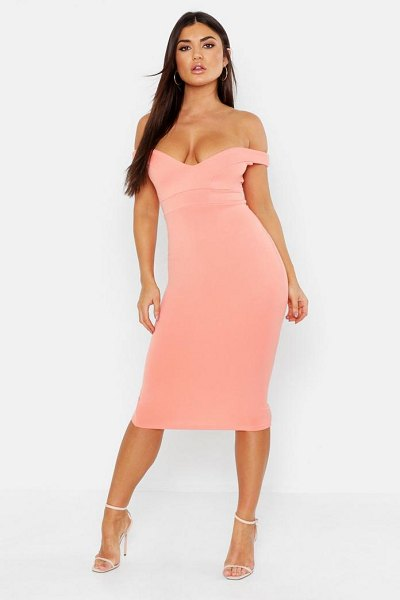 Boohoo Sweetheart Off Shoulder Midi Bodycon Dress in apricot - Dresses are the most-wanted wardrobe item for...