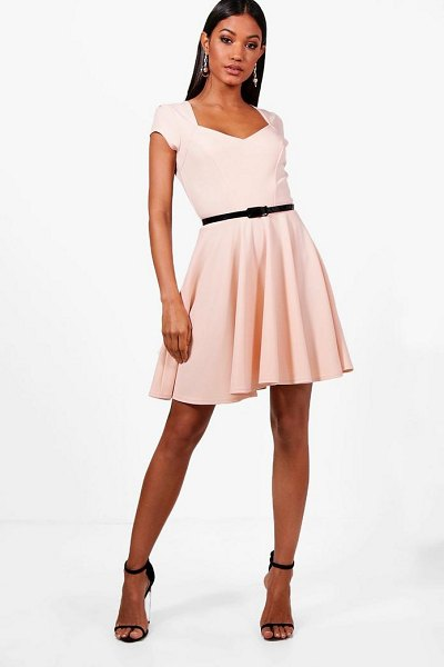 Boohoo Sweetheart V Neck Skater Dress in blush - Dresses are the most-wanted wardrobe item for...