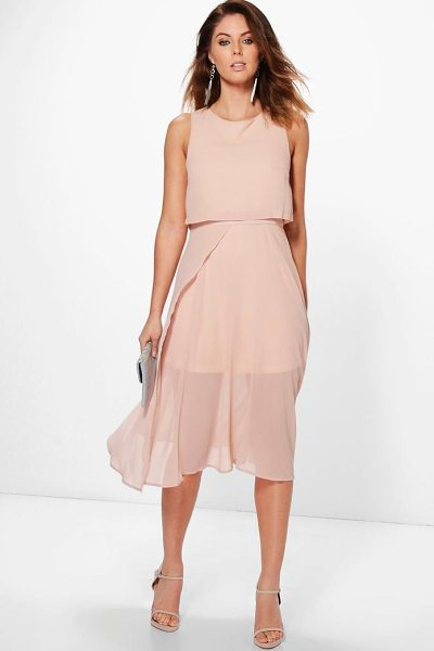 Boohoo Chiffon Double Layer Midi Skater Dress in blush - Dresses are the most-wanted wardrobe item for...