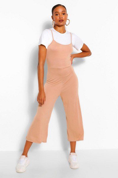 Boohoo T-Shirt & Cami Jumpsuit 2 In 1 Set in camel