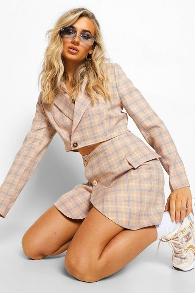 Boohoo Tailored Flannel Crop Blazer in taupe
