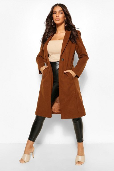 Boohoo Tailored Wool Look Coat in chocolate