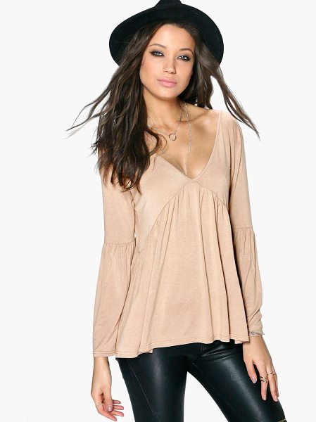 Boohoo Tall Erika Long Sleeve Smock Top in sand - Day tops are a staple separate in every wardrobeMake...