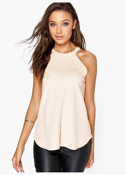 Boohoo Tall High Neck Strap Top in nude