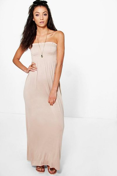 Boohoo Tall Ivy Shirred Bandeau Maxi Dress in stone - Full-on fashion starts with a floor-sweeping maxi...