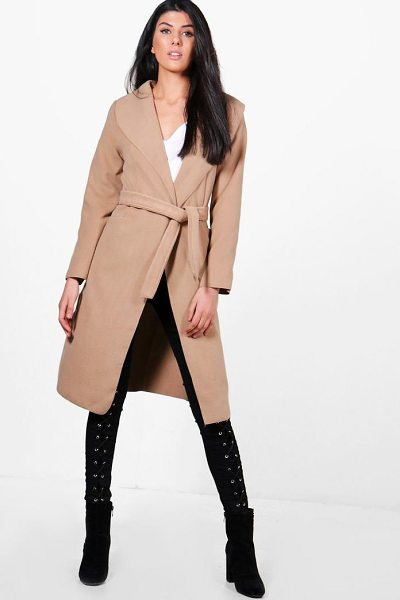 Boohoo Belted Wool Look Shawl Collar Coat in camel - Wrap up in the latest coats and jackets and get...