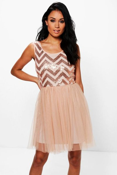 Boohoo Tamara Sequin Top Mesh Skirt Skater Dress in camel - Dresses are the most-wanted wardrobe item for...