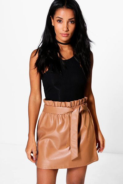 Boohoo Tamison Paperbag Waist Leather Look Skirt in tan - Skirts are the statement separate in every wardrobe This...