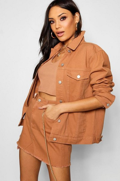 Boohoo Tan Oversized Denim Jacket in tan - Wrap up in the latest coats and jackets and get...