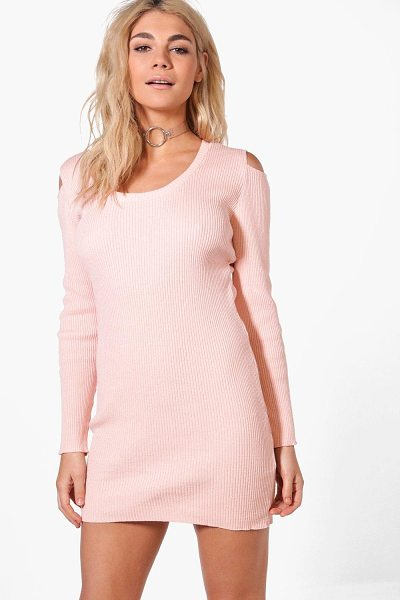 Boohoo Tanya Cold Shoulder Rib Knit Jumper Dress in nude - Tanya Cold Shoulder Rib Knit Jumper Dress nude