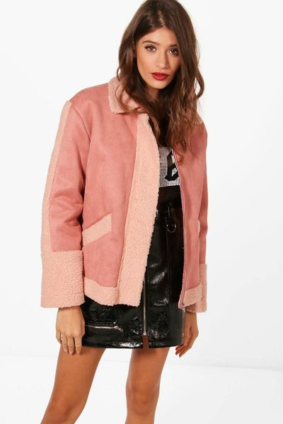 BOOHOO Tanya Teddy Faux Fur Trim Biker - Wrap up in the latest coats and jackets and get...