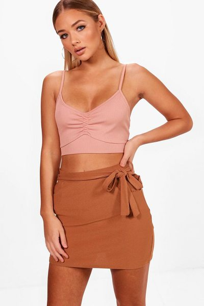 Boohoo Tara Pocket Front Tie Waist Crepe Mini Skirt in desert rose - Knock 'em dead and show off those pins with a killer...