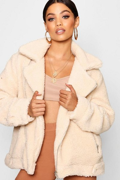 Boohoo Teddy Faux Fur Aviator in cream