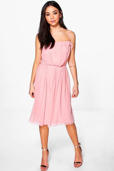 Boohoo Teresa Frill Pleat Detail Midi Dress in dusky pink - Dresses are the most-wanted wardrobe item for...