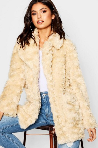 Boohoo Textured Collared Faux Fur Coat in cream