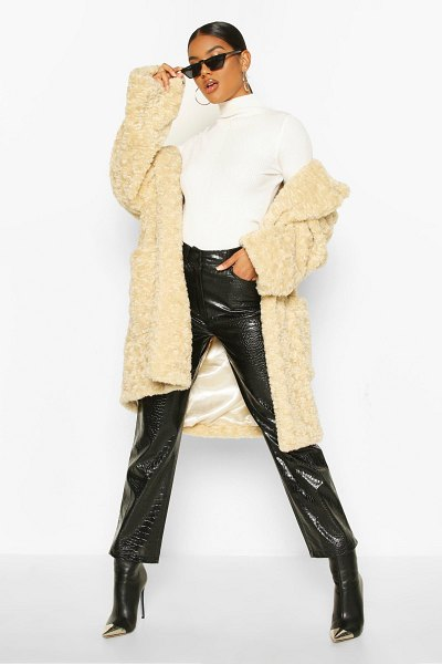 Boohoo Textured Faux Fur Belted Coat in cream