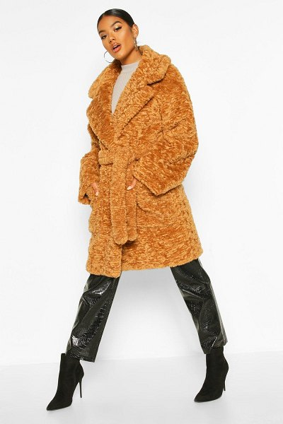 Boohoo Textured Faux Fur Belted Coat in toffee