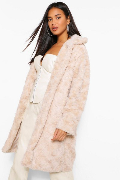 Boohoo Textured Faux Fur Coat in stone