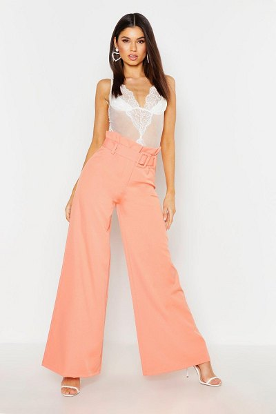 Boohoo The Tailored Paperbag Waist Belted Wide Leg Pants in coral
