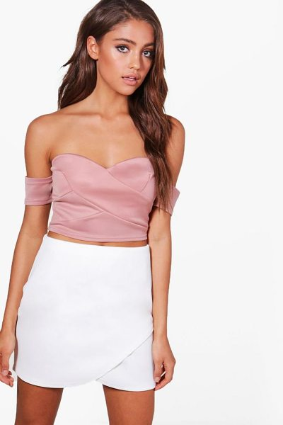 Boohoo Tia Off The Shoulder Crop Top in rose - Steal the style top spot in a statement separate from...