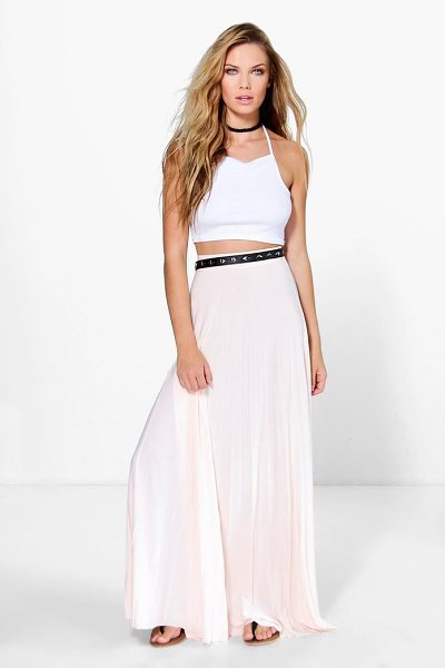 Boohoo Tia Pleated Slinky Maxi Skirt in nude - Party with your pins out in a statement evening...