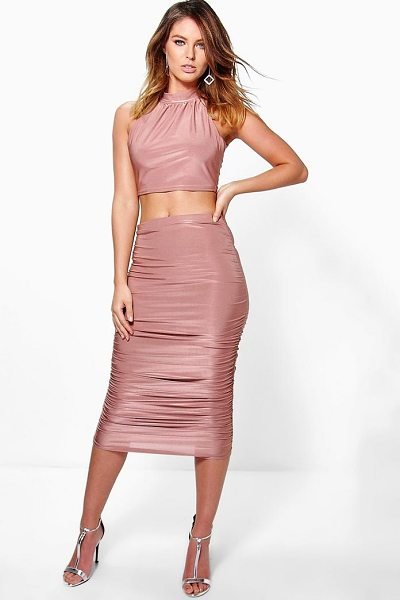 Boohoo Tia Slinky Halterneck Crop And Midi Skirt Co-Ord in rose