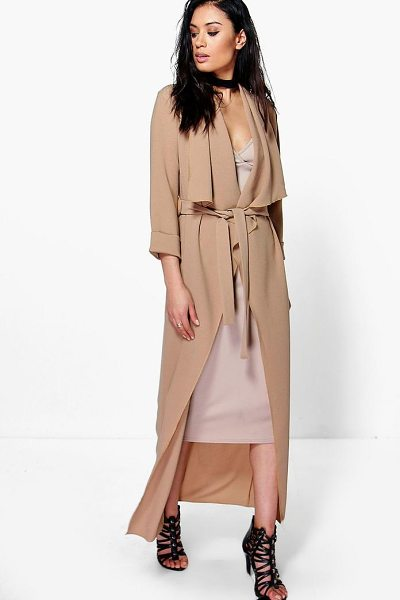 Boohoo Tia Waterfall Woven Belted Duster in camel - Wrap up in the latest coats and jackets and get...