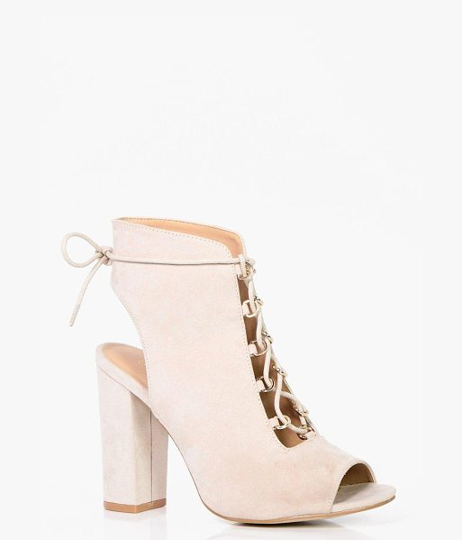 Boohoo Tia Wide Fit Lace Up Shoe Boot in nude - We'll make sure your shoes keep you one stylish step...