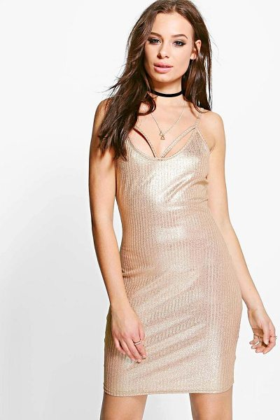 Boohoo Tiara Metallic Rib Strappy Bodycon Dress in gold - Dresses are the most-wanted wardrobe item for...