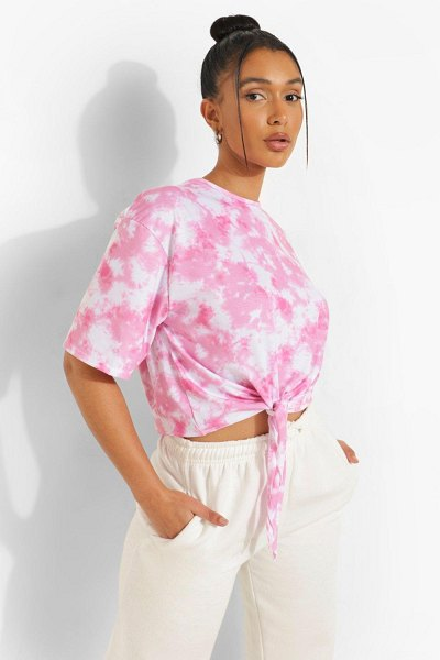 Boohoo Tie Dye Graphic Back Tie Front T-Shirt in pink