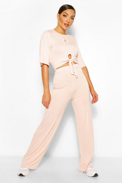 Boohoo Tie Front T-Shirt & Pants Two-Piece Set in blush