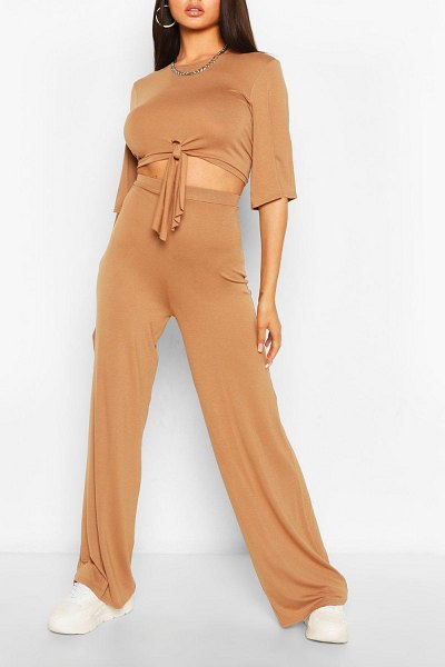 Boohoo Tie Front T-Shirt & Pants Two-Piece Set in camel