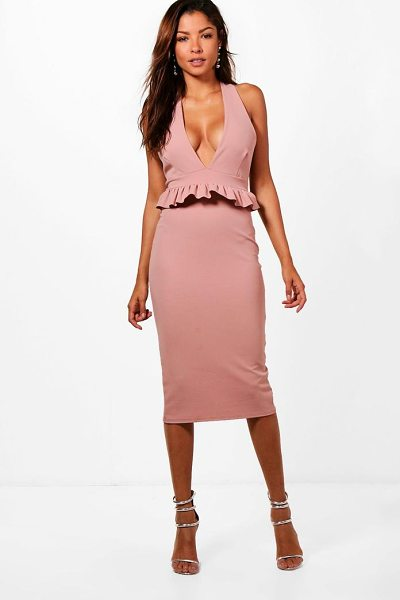 Boohoo Tiffanie Halter Frill Waist Detail Midi Dress in rose - Dresses are the most-wanted wardrobe item for...