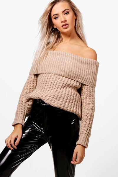 Boohoo Soft Knit Marl Bardot Jumper in blush - Nail new season knitwear in the jumpers and cardigans...