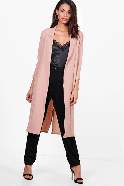 Boohoo Tiffany Woven Tailored Lapel Duster in nude - Wrap up in the latest coats and jackets and get...