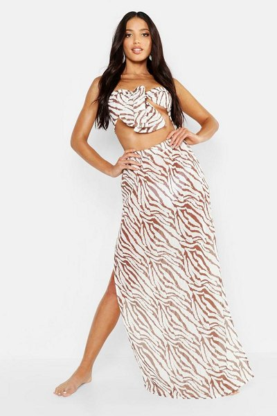 Boohoo Tiger Maxi Skirt Beach Co-Ord in brown