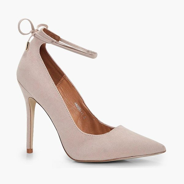 Boohoo Tilly Ankle Tie Court Stiletto in nude - We'll make sure your shoes keep you one stylish step...